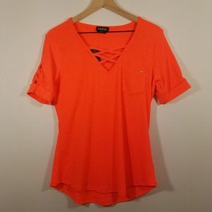 NWT Bebe Super Stretch Short Sleeve Neon Top XL